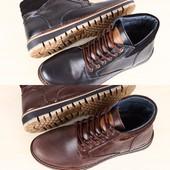 Мужские зимние ботинки кожа черные и коричневые