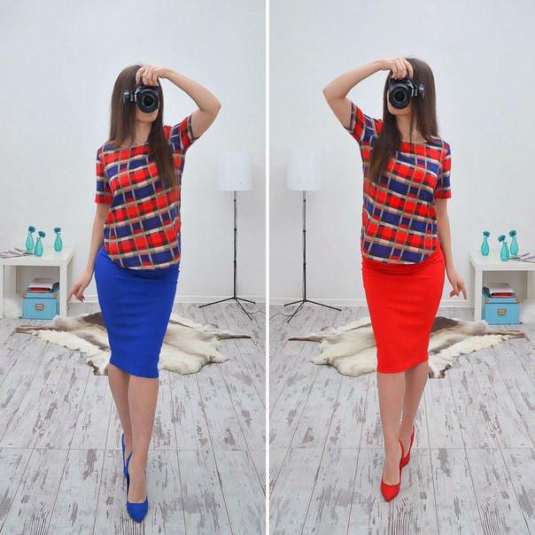 От 40 до 56 размера!стильная юбка карандаш  трикотаж фото №1