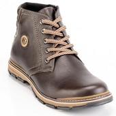 мужские кожаные ботинки зимние Код:045