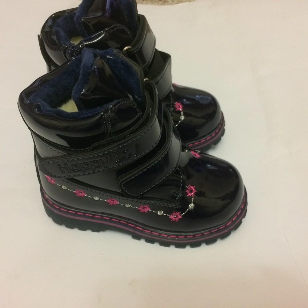 Ботинки лак зимние для девочки синие фото №1