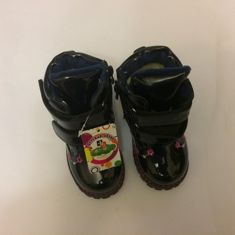 Ботинки лак зимние для девочки синие фото №3