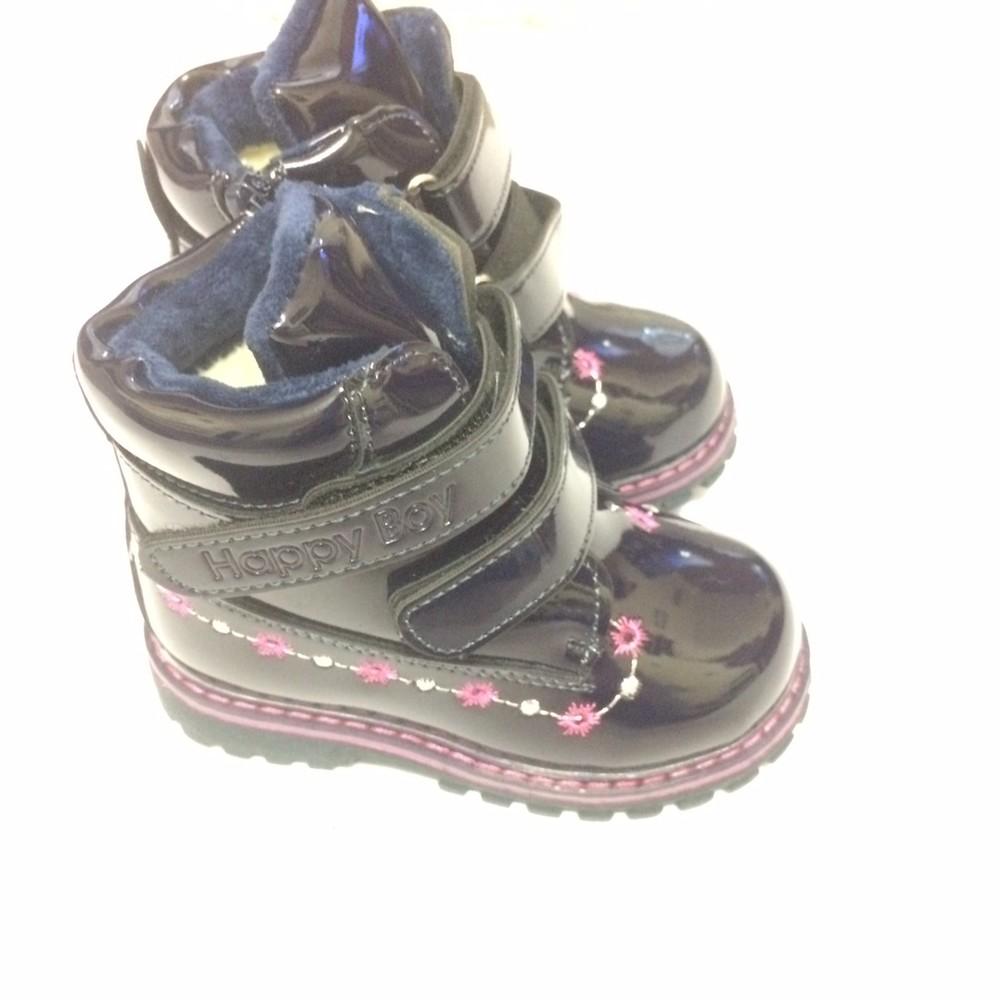 Ботинки лак зимние для девочки синие фото №4