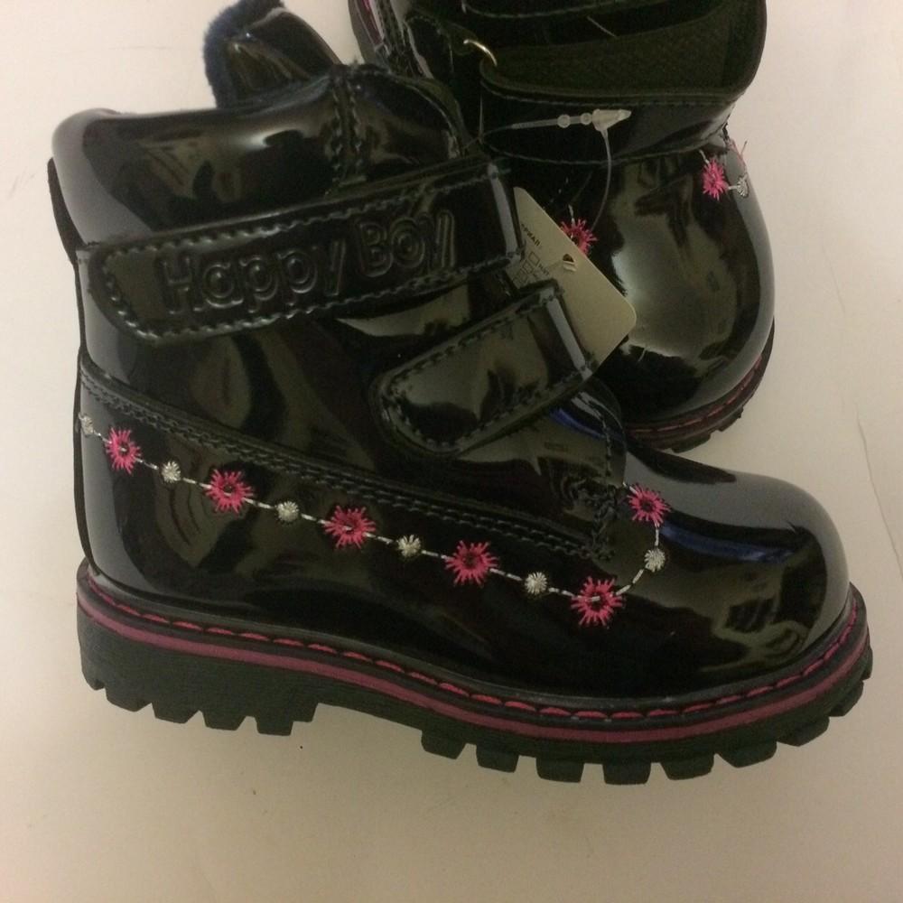 Ботинки лак зимние для девочки синие фото №5