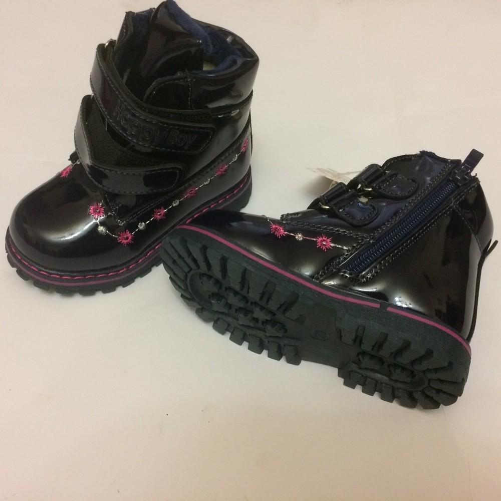 Ботинки лак зимние для девочки синие фото №6