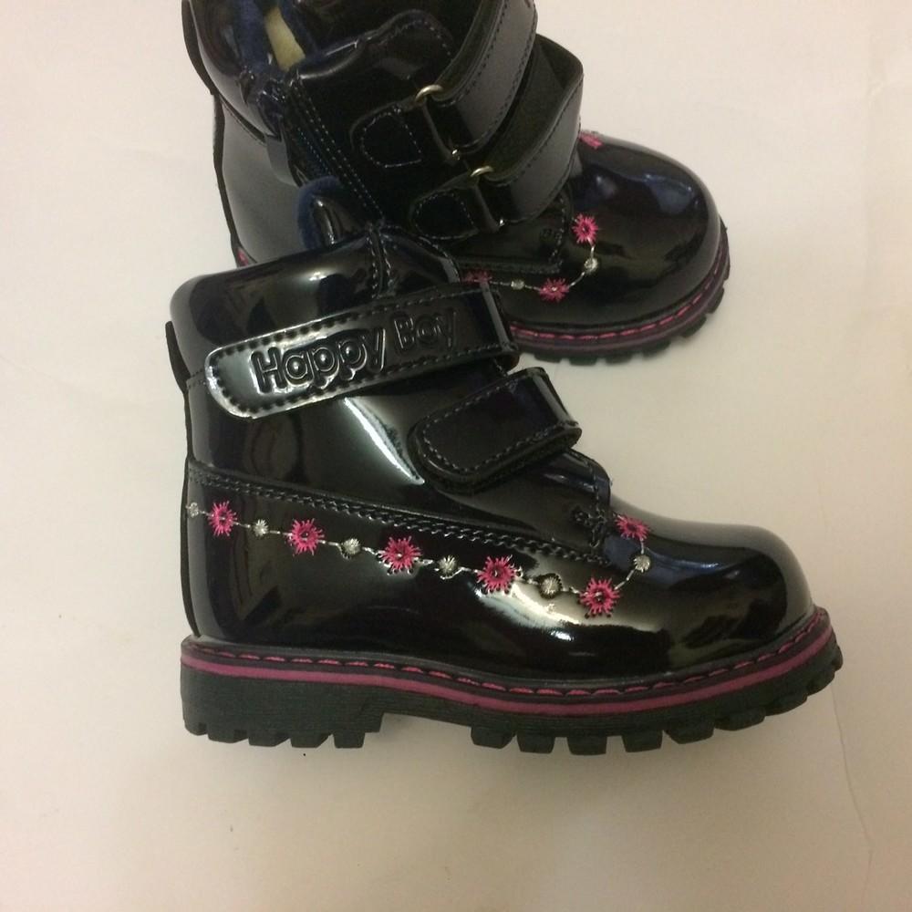 Ботинки лак зимние для девочки синие фото №7