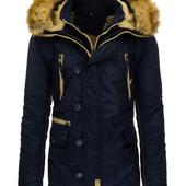 Мужская зимняя куртка парка пуховик с меховым капюшоном