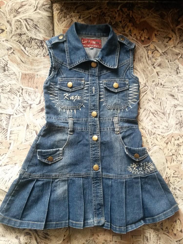 Красивый и стильный джинсовый сарафан- платье на красавицу 6-8 лет фото №1