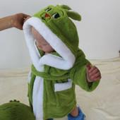 Детский махровый халатик Зайка с ушками от 2-10 лет