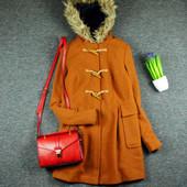 S-M ASOS шерстяное дафл-пальто с большими карманами и мехом!0380