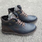 Зимние ботинки кожа(синяя)