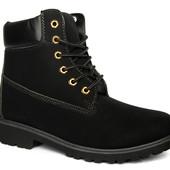 Стильные мужские зимние ботинки на меху эко-нубук (Л-56)