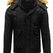 Мужская зимняя стёганая куртка с капюшоно