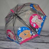 Прозрачный зонтик зонт для вашей девочки с мишками грибком