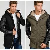 Зимняя мужская куртка парка с кожанимим рукавами