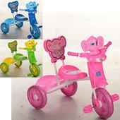 Велосипед на три колеса, 3 цвета (голуб.зелен.,розов), муз, свет, зад.корзина, спинка на сидении