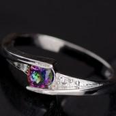 Кольцо покрытие серебро с сиреневым цирконием код 292