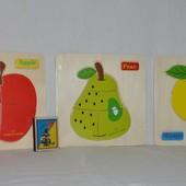 Деревянная игрушка Рамка - вкладыш фрукты - пазл