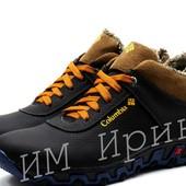 Кроссовки кожаные зимние Columbia Blue Brown