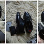 Кожаные туфли-оксфорды на широкую ногу Next ,р-р 43-44
