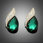 Серьги с зеленым/чёрным кристаллом