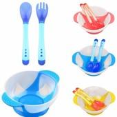 Набор посуды на присоске, меняет цвет при перегреве еды