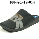 100-AC-1S-014  Тапочки мужские домашние Inblu Инблу цвет - черный, размеры 40-46, материал - велюр