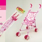 Коляска 9302 W для куклы, железная, зонтик, двойные колеса, поворот, 55-49-26см, высота до ручки 53