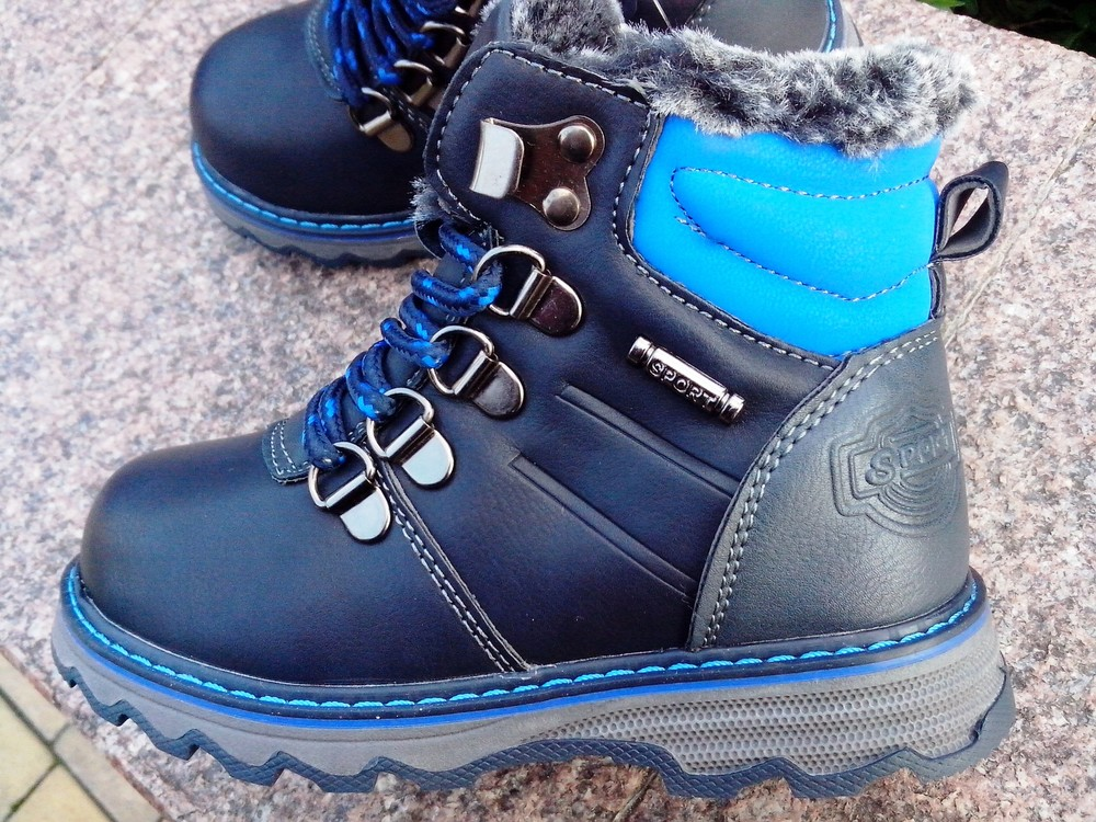 Зимние ботинки на мальчика світ.т размер 23-14 см  синие фото №5