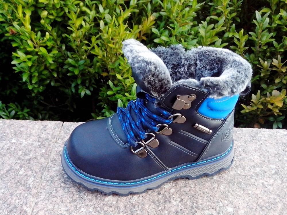 Зимние ботинки на мальчика світ.т размер 23-14 см  синие фото №1