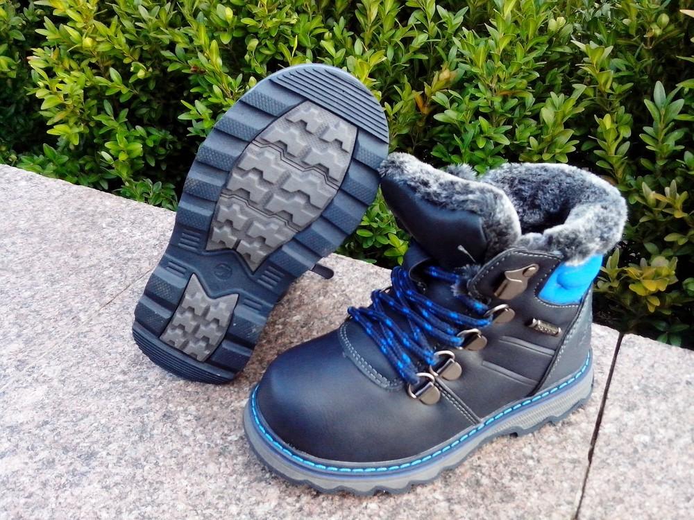 Зимние ботинки на мальчика світ.т размер 23-14 см  синие фото №7
