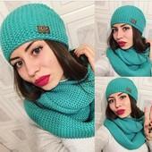 шапка + снуд, теплый комплект, разные цвета