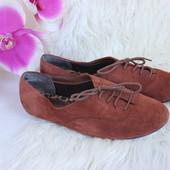 36 22,5см New Look Натуральные замшевые балетки туфли на шнуровке