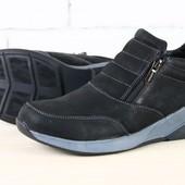Ботинки мужские зимние на замках, черные на меху из натуральной кожи