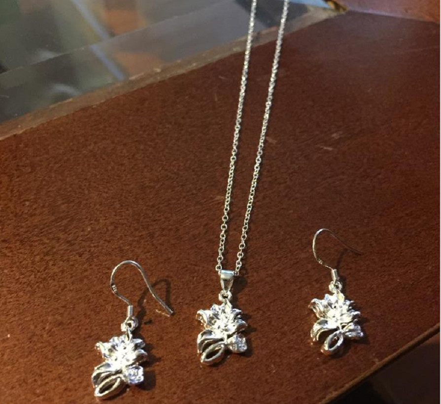 Комплект Лотос Серьги, подвеска и цепочка 925 серебро 6,17 гр фото №2
