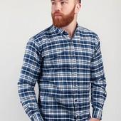 Рубашка мужская клетчатая, теплая №208F010 сине-белый,сине-красный