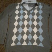 Пуловер+рубашка-обманка