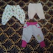Штанишки для малышки, домашние 62-74 см