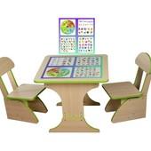Столик Обучающий с пеналом,60*60*45 растущий +2 стульчика,