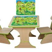 Столик с наклейкой Игра-бродилка  с пеналом,60*60*45 растущий +2 стульчика,