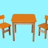 Стол деревянный цветной и 2 стульчика, цвет оранжевый, арт 092 Финекс+