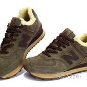 Зимние кроссовки New Balance 574, натур замша, на меху 4 цвета
