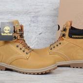 Ботинки кожаные Timberland yellow boots зимние Тимберленд на меху