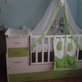Цена снижена до 18.12! Кроватка Oris Maya 013 белый/зеленый состояние лучше новой