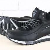 Мужские зимние спортивные ботинки на шнурках, черные, на меху