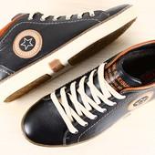 Мужские зимние спортивные ботинки-кеды на шнурках, черные с коричневыми вставками