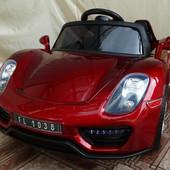Детский электромобиль Porsche Spyder FT 1038+eva колесах,красный автомобильная покраска
