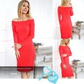 платье теплое из ангоры открытые плечи ангоровое красное