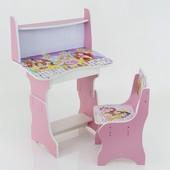 """Парта-пенал с полкой """"Принцессы и кошки"""" цвет розовый (парта+1 стул), 690*450"""