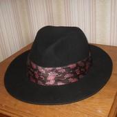 стильная фетровая шляпа Италия 100% шерсть 56-57 р-р