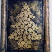 Денежная ёлка картина панно сделана из монет